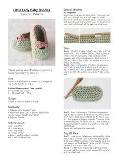 Little Lady Baby Booties Crochet Pattern. Crochet Baby Sandals, Booties Crochet, Baby Girl Crochet, Crochet Baby Clothes, Crochet Slippers, Crochet Shoes, Baby Booties Free Pattern, Baby Shoes Pattern, Baby Patterns
