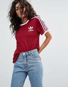 adidas Originals - T-shirt à trois bandes - Bordeaux