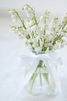 Flowers in a Jar with white ribbon!