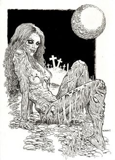 Dead Alive Moon Goddess by Rob Sacchetto of Zombie Daily