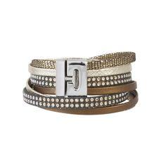 Bracciale in pelle stampata oro con cristalli Swarovski e chiusura in acciaio.
