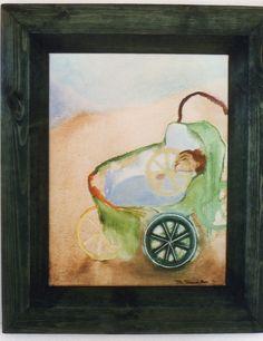 Cotxet/Baby Carriage by Carlota Delgar. Children/ infants/ Ninyos/ Oil Painter/ Art.