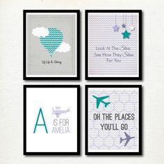 Up and Away | Planes  Hot Air Balloon | Girls Bedroom Ideas | Travel Nursery | Teal and Purple Nursery Ideas