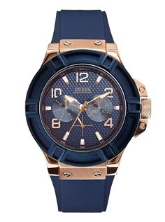 A collection of Iconic signature combinations inspired by the GUESS lifestyle. Trendy fashion-forward designs from GUESS Watches offer dynamic styling. Sport Watches, Watches For Men, Guess Watches, Men's Watches, Unique Watches, Watches Online, Bracelet Silicone, Casual Watches, Men Watches