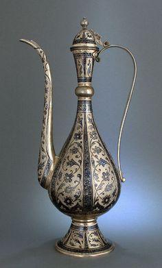 Rare huge Islamic Niello Ottoman caucasian Dallah Coffee Pot solid silver marked | eBay