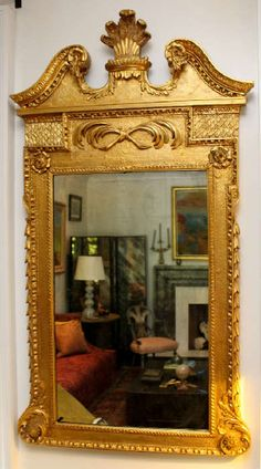 Early century English giltwood mirror decorated with Prince of Wales plumes, palm fronds, rosettes, laurel swags, and fish scales. Fancy Mirrors, Small Mirrors, Antique Frames, Antique Mirrors, Beautiful Mirrors, Antique Lighting, Decorating Tools, Mirror With Lights, Mirror Image