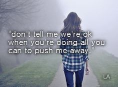 don't tell me we're ok when you're doing all you can to push me away