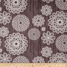 Designed by Violet Craft for Michael Miller, this cotton print is perfect for quilting, apparel and home decor accents.  Colors include white, taupe and purple-grey.