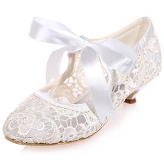 Clearbridal Women\' Pumps Closed Toe Mid Heels Mary Jane Prom Lace Ribbon Tie Wedding Party Shoes ZXF9001-05 B01LWW53O2