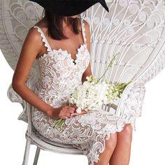 Boho Crochet Style Open Work Lace Short Wedding Dress  :: Budget Collection