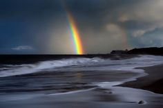 Rainbow in storm