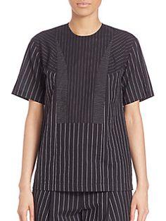 DKNY - Short Sleeve Pinstripe Top