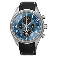 Buy Seiko SSC209P9 Men's Solar Chronograph Alarm Watch, Black / Blue Online at johnlewis.com