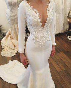 Rustic Wedding Dress with long sleeves lace Appliques Unique mermaid wedding dress vintage lace summer wedding bridal gowns