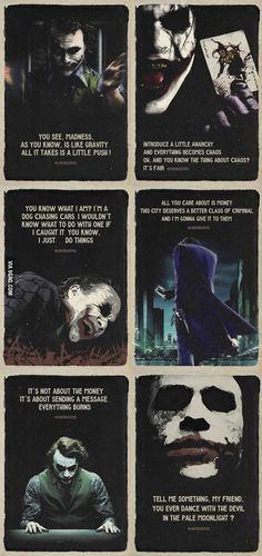 Quotes Heath Ledger as The joker is one of the most genius movie characters of all time. He was so amazing.Heath Ledger as The joker is one of the most genius movie characters of all time. He was so amazing. Joker Batman, Joker Heath, Joker Y Harley Quinn, Der Joker, Heath Ledger Joker Quotes, Batman Joker Quotes, Batman Art, Joker Ledger, Batman Robin