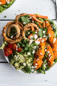 Buffalo Chicken   Blue Cheese Guacamole and Crunchy Baked Onion Ring Salad | halfbakedharvest.com