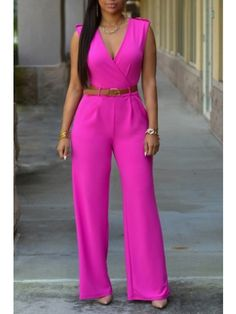 Women's Sleeveless V Neck Long Loose Jumpsuits Rompers | WithChic