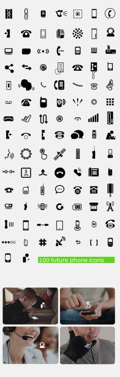 100 future phone icons by Stephy So, via Behance