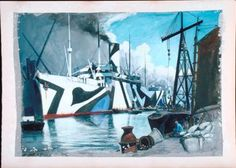 SS Sardinian, Allan Line, 1918, oil painting, John Everett, England