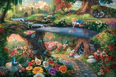 The whimsical world of Wonderland comes alive in the signature style of Thomas Kinkade. 24 x x © Thomas Kinkade © Disney Disney Amor, Art Disney, Disney Kunst, Disney Love, Thomas Kinkade Disney, Alice In Wonderland Paintings, Wonderland Alice, Winter Wonderland, Disney Jigsaw Puzzles