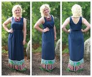 Blue maxi with a beautiful color design on the bottom! Gorgeous!