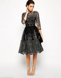 CHI CHI LONDON BLACK MIDI LACE PROM WEDDING PARTY DRESS EUR 36 38 40 42 44