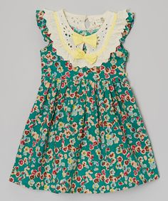 Loving this Poco & Picotine Green Floral Bow-Collar Dress - Girls on #zulily! #zulilyfinds