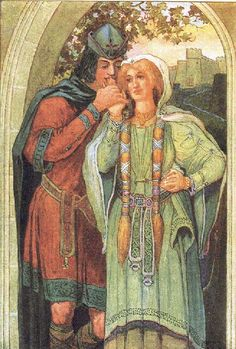 The Parting of Sir Tristram and la Belle Isault by_Louis_Rhead
