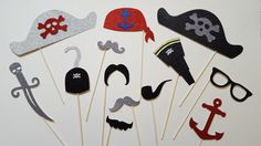 Glittery Pirate Photobooth Props Beach Themed by CraftsbyVerity