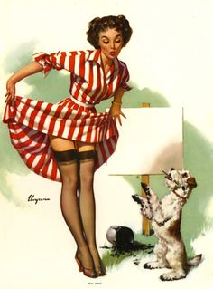 """Real Neat"" by Gil Elvgren 1956"
