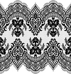 Lace seamless borders vectors set 02