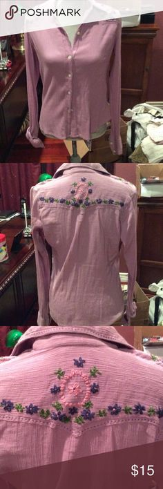Lucky Brand top 100% cotton long sleeved top with embroidery along the back of neck and shoulders very cute. Lucky Brand Tops Button Down Shirts