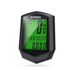 Enkeeo Preciso 10 Wireless Cadence Bike Computer Speedometer Bicycle Odometer Backlit Display Multifunction Tracking Distance Speed Time Temperature Calorie Black -- For more information, visit image link.