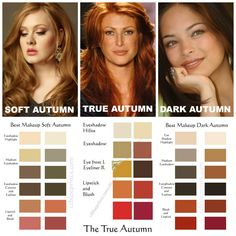 Autumn Makeup Comparisons. SOFT AUTUMN contains a slight bit of Summer's Gray, which makes its colors soft and muted. It is the lightest Autumn. Makeup colors are soft, warm, and muted. Tawny. Pottery colors. Indian jewelry. Aztec, Southwest US colors. Makeup is warm but unlike Springs yellow sunny warmth, SA is more orange-gold. It contains more orange than just yellow. SA is more Tawny Barbie, rather than Golden Barbie. It's thicker, heavier, muted than Spring, and most importantly Soft…