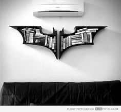 Batman logo bookshelf-this would be so cool for the MattCave or for Blake