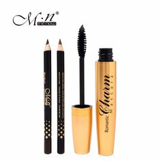 M.n Menow Brand  Professional makeup Golden  tubes thick mascara Set With Gift Two Pencil  black / brown Color  M13002
