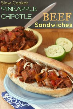 Slow Cooker Pineapple Chipotle Beef Sandwiches | cupcakesandkalechips.com | #slowcooker #crockpot