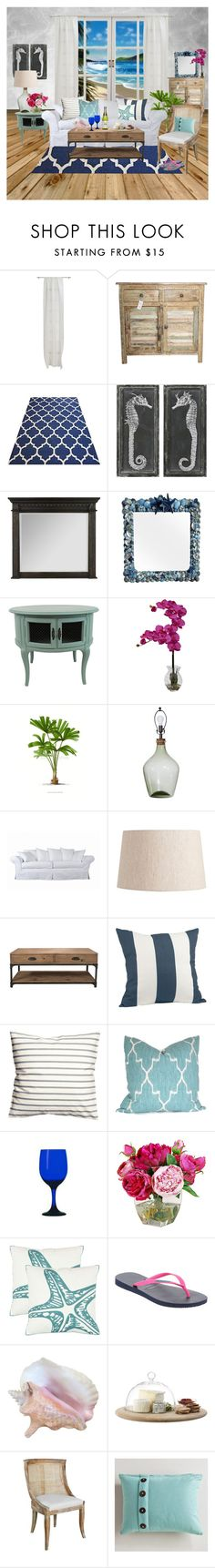 """""""Living Room by the Sea"""" by citkat777 ❤ liked on Polyvore featuring interior, interiors, interior design, home, home decor, interior decorating, CB2, Uttermost, Hooker Furniture and Nearly Natural"""