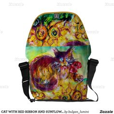 CAT WITH RED RIBBON AND SUNFLOWERS MESSENGER BAGS