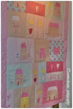 so cute for a girl's room - tilda house quilt