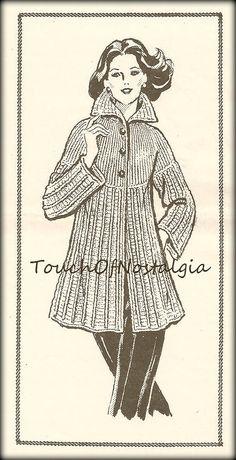 Crochet Pattern - INSTANT DOWNLOAD   Womens - Mid-Length EMPIRE WAIST COAT (CROCHET) Vintage Crochet Pattern Reproduction (APW-899S)