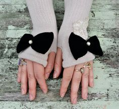 ~French Shabby Chic Oatmeal Arm Warmers~ by TrueRebelClothing, $34.00