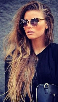 long locks + shades.