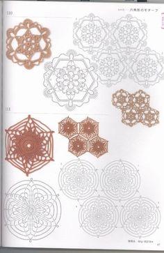 "Photo from album ""Crochet patterns book Motifs & Edgins on Yandex. Crochet Snowflake Pattern, Crochet Motif Patterns, Crochet Symbols, Crochet Snowflakes, Form Crochet, Crochet Quilt, Crochet Mandala, Crochet Diagram, Crochet Round"