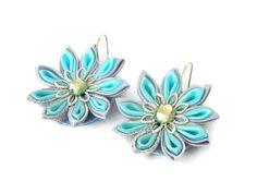 Kanzashi Earrings , Fabric Jewellery ,  blue azure , gift for her