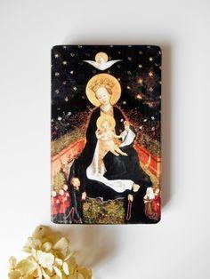 Handmade Icon Madonna on a Crescent Moon Reproduction Wood Christian Icon Catholic icon Catholic Art Religious Gift Gothic Art Religious Art by SpiritualGiftGallery on Etsy