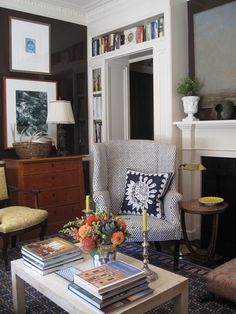 Navy, white, wood, yellow, books, moulding, lacquered walls