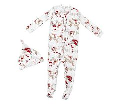 North Pole Onesie Pajama, 6-12 Months, White Multi
