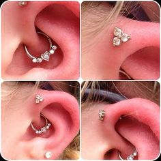 """""""@sarahmonstrosity did these two beautiful piercings a few days ago, the daith was done with a solid white gold seam ring from BVLA and the forward helix was done with solid white gold neometal!"""" Fyre Body Art"""