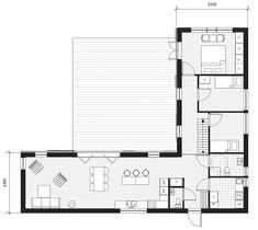 U Shaped House Plans, U Shaped Houses, Container House Design, Small House Design, Small Modern House Plans, Danish House, Self Build Houses, Long House, Bungalow